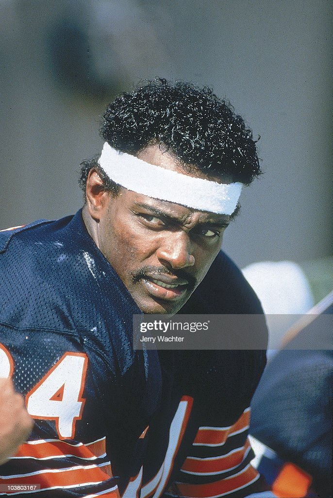 Closeup of Chicago Bears <a gi-track='captionPersonalityLinkClicked' href=/galleries/search?phrase=Walter+Payton&family=editorial&specificpeople=216517 ng-click='$event.stopPropagation()'>Walter Payton</a> (34) on sidelines during game vs Dallas Cowboys. Cover. Chicago, IL 9/29/1984