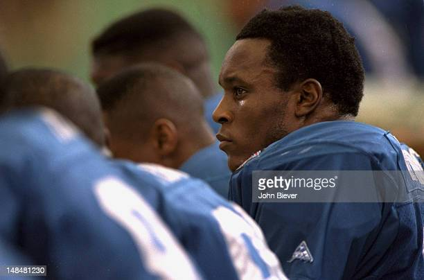 Closeup of Detroit Lions Barry Sanders on bench during game vs Buffalo Bills at Pontiac Silverdome Pontiac MI CREDIT John Biever