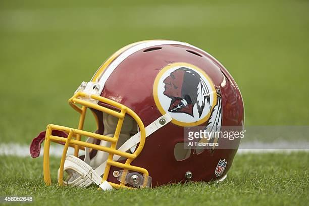 Closeup of Washington Redskins helmet on field before game vs Philadelphia Eagles at Lincoln Financial Field Equipment Philadelphia PA CREDIT Al...
