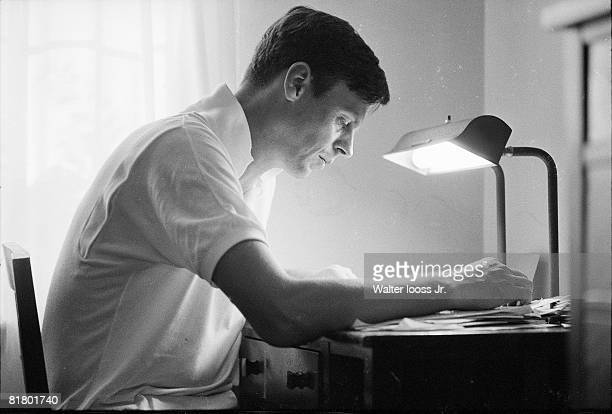 Football Closeup of writer George Plimpton during Detroit Lions training camp Detroit MI 8/3/1963