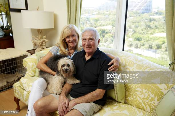 Closeup portrait of former Miami Dolphins linebacker Nick Buoniconti posing with his wife Lynn and their dog during photo shoot at home Buoniconti...