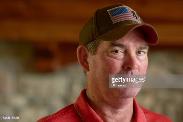 Closeup portrait of Minnesota Vikings head coach Mike Zimmer posing during photo shoot at home Walton KY CREDIT Bill Frakes