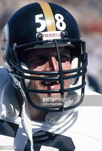 Closeup portrait of Pittsburgh Steelers Jack Lambert during game vs Green Bay Packers at Lambeau Field Green Bay WI CREDIT Heinz Kluetmeier