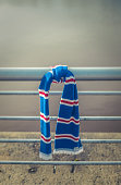Football Club Scarf Tied To A Railing On A Match Day