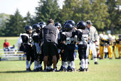 Football players in a huddle on the field with their coach.