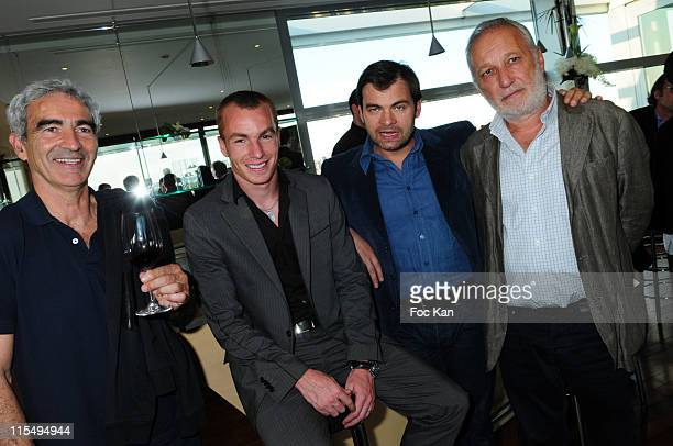 Football coach Raymond Domenech footballer Matthieu Chalme actors Clovis Cornillac and Francois Berleand attend the Chateau Connivence 2008 Pomerol...