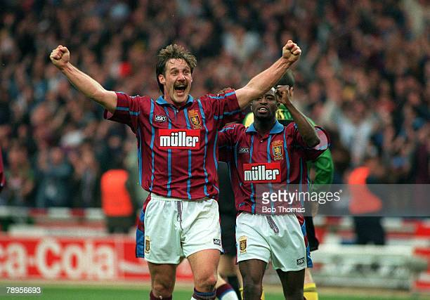 Football Coca Cola Cup Final Wembley Stadium England 27th March 1994 Aston Villa 3 v Manchester United 1 Villa's Shaun Teale celebrates with teammate...