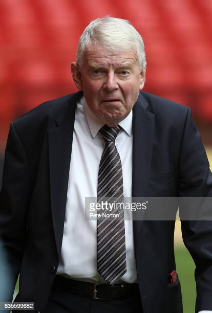Football commentator John Motson looks on prior to the Sky Bet League One match between Charlton Athletic and Northampton Town at The Valley on...