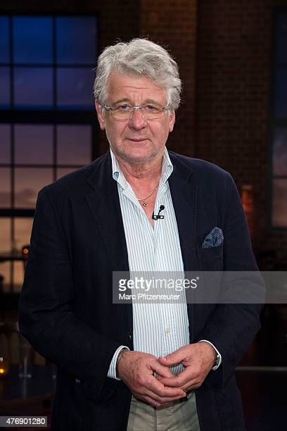 Football commentator Marcel Reif attends the 'Koelner Treff' TV Show at the WDR Studio on June 12 2015 in Cologne Germany