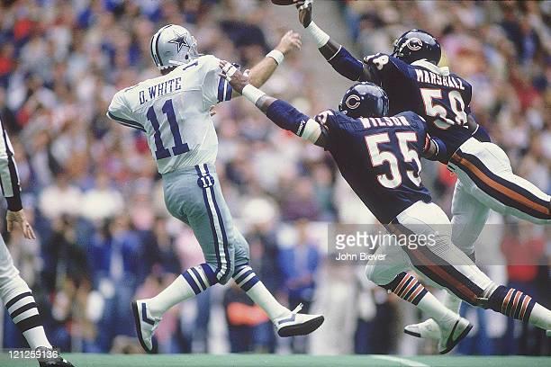 Dallas Cowboys QB Danny White in action pass vs Chicago Bears Otis Wilson and Wilber Marshall at Texas Stadium Irving TX CREDIT John Biever