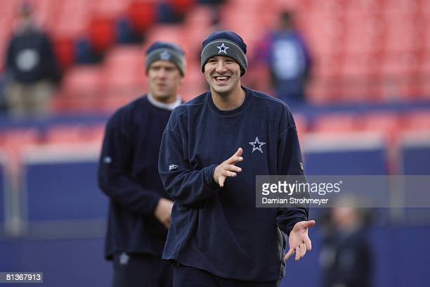 Football Dallas Cowboys QB Tony Romo and Drew Bledsoe before game vs New York Giants East Rutherford NJ 12/3/2006