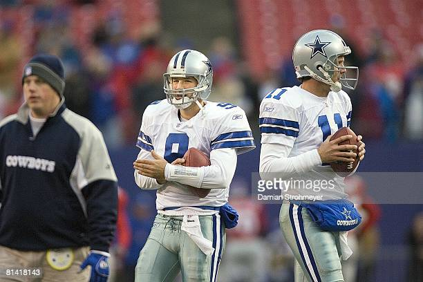 Football Dallas Cowboys QB Tony Romo and Drew Bledsoe during warmups before game vs New York Giants East Rutherford NJ 12/3/2006