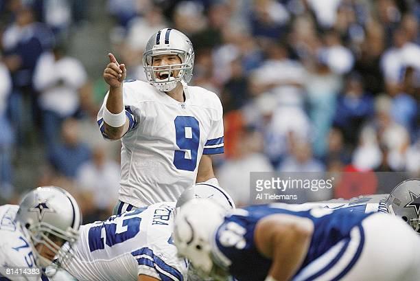 Football Dallas Cowboys QB Tony Romo calling signals before snap during game vs Indianapolis Colts Irving TX