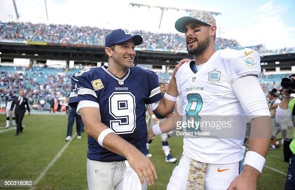 Dallas Cowboys QB Tony Romo shaking hands with Miami Dolphins QB Matt Moore after game at Sun Life Stadium Miami Gardens FL CREDIT Donald Miralle