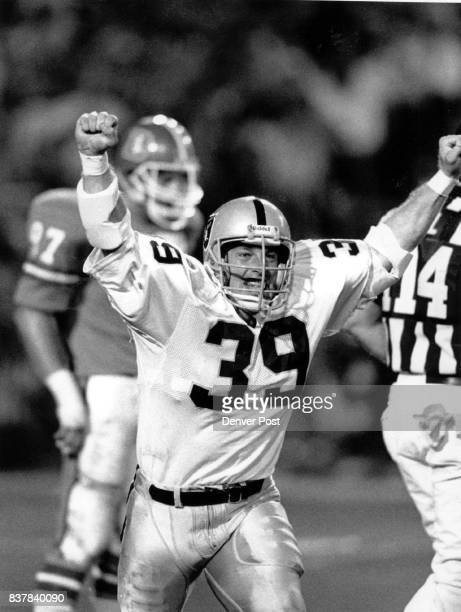 Football Denver Broncos 1988 Game 4 Raiders 30 Broncos 27 Jubilant Raider Steve Strachan during 4th period action Monday Credit The Denver Post