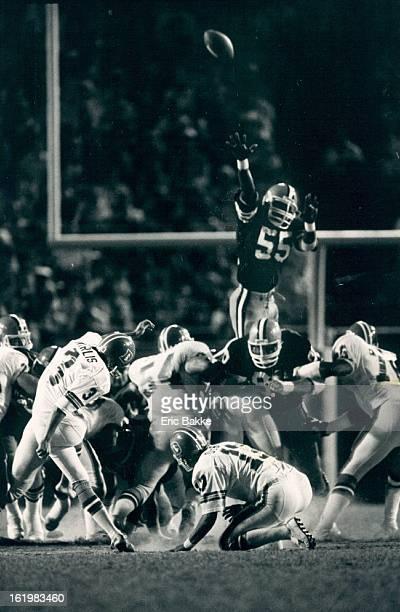 AUG 21 1983 Football Denver Broncos Cleveland linebacker Curtis Weathers gave it great effort