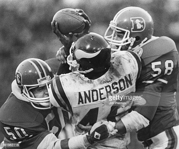NOV 18 1984 NOV 19 1984 Football Denver Broncos Denver linebackers Steve Busick and Jim Ryan wrap up Alfred Anderson on his illfated attempt at a...