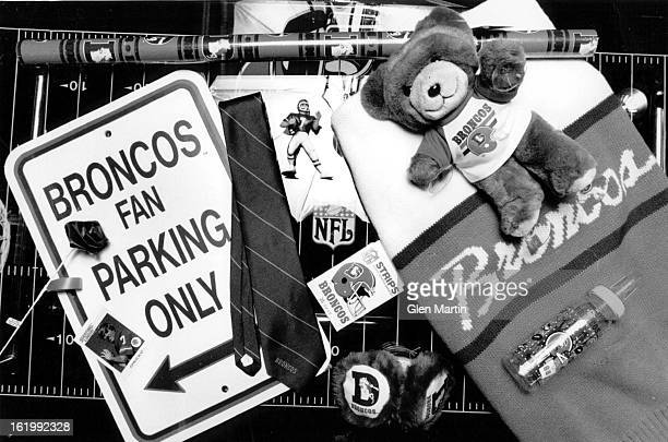 DEC 4 1988 Football Denver Broncos Fans Mr K's 301 E 57th Ave Brinco Souvenirs Story is about Sales in face of Broncos losing Season Parking Sign...