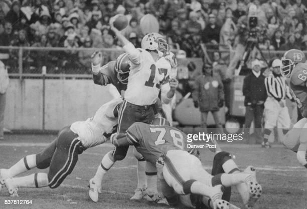 Football Denver Broncos Inspired Bronco Defense Harasses New England's Tom Owen into incomplete pass Patriots' reserve quarterback throws under heavy...