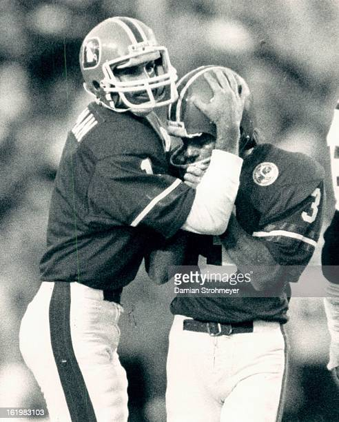 NOV 4 1984 NOV 5 1984 Football Denver Broncos Rich Karlis was grateful as he is congratulated after he converted the extra point to put Denver ahead...