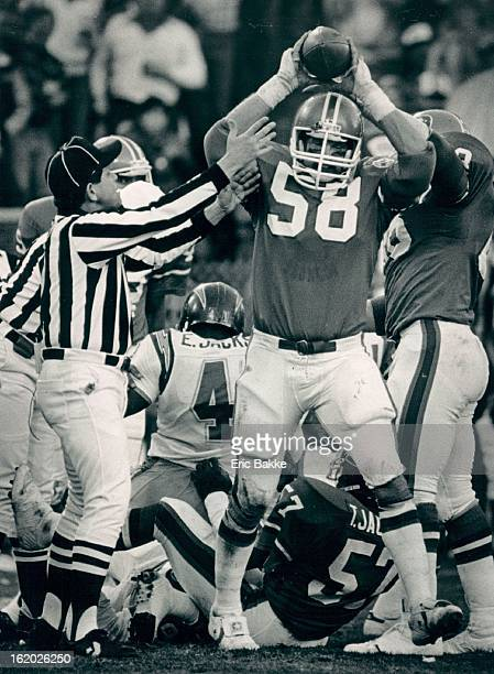 NOV 8 1984 DEC 10 1984 Football Denver Broncos Steve Busick celebrates after the defense held San Diego four successive downs at the one yard line