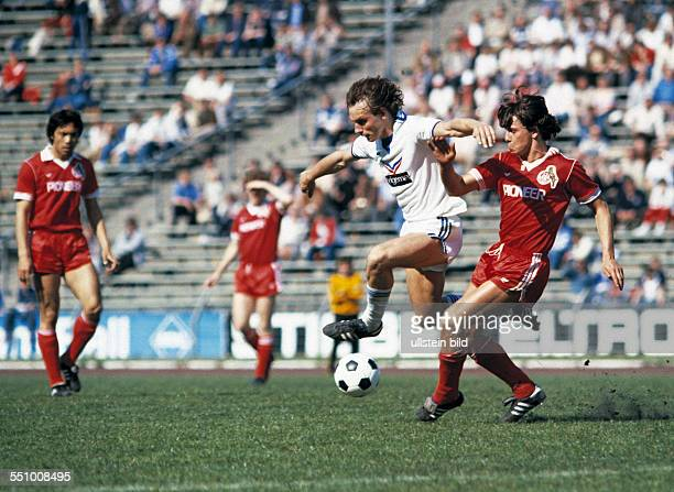 football DFB Cup 1979/1980 semifinal Parkstadion FC Schalke 04 versus 1 FC Cologne 02 scene of the match Dieter Prestin right and Ruediger Abramczik...