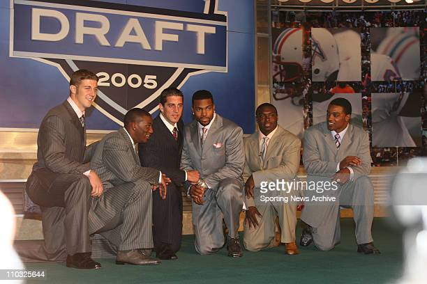 Football Draft April 23 2005 Javits Center New York City left to right Alex Smith a quarterback from Utah Antrel Rolle a cornerback from Miami Aaron...