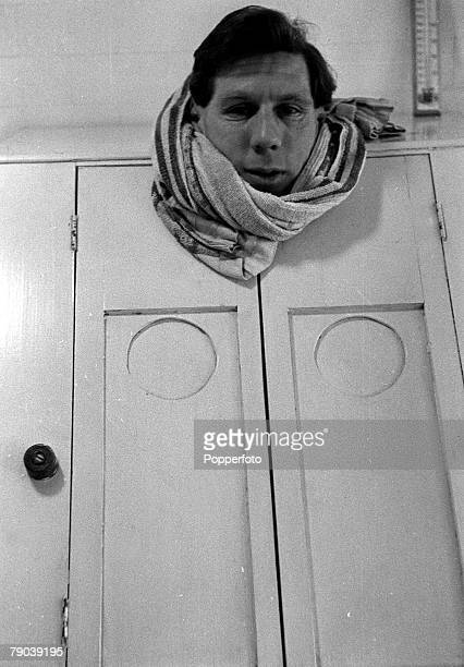 Football England Sunderland and England footballer Len Shackleton wearing a towel around his neck as he stands in a steam bath during fitness routines