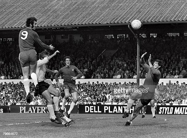 Football English First Division London England 26th September 1970 Chelsea 1 v Ipswich Town 0 Chelsea's Peter Osgood leaps up high to score the games...