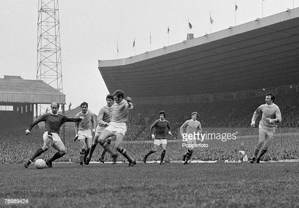 Football English League Division 1 Old Trafford Circa 1972 Manchester United v Manchester City Manchester United's Bobby Charlton shoots for goal as...