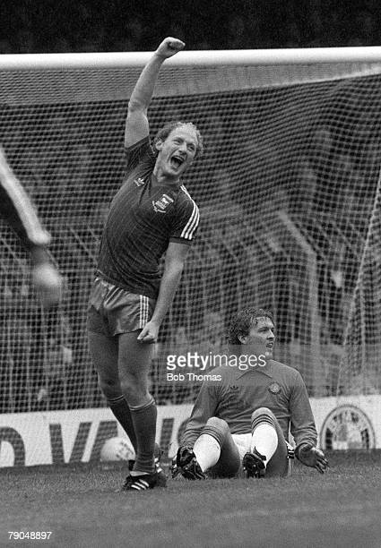 Football English League Division One 16th October 1982 Luton Town 1 v Ipswich Town 1 Ipswich Town's Alan Brazil celebrates after scoring past Luton's...