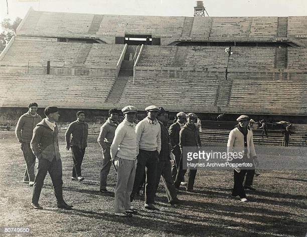 Football Estadio Centenario Uruguay PreWorld Cup Finals Argentinian players and officials stroll on the pitch prior to a training session