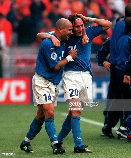 Football European Championship SemiFinal Amsterdam Arena Holland 29th June Italy beat Holland 31 0n penalties Italy's Luigi Di Biagio and Francesco...