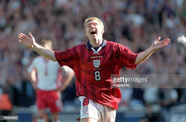 Football European Championships 2000 Qualifier Wembley 27th March England 3 v Poland 1 England's Paul Scholes celebrates after scoring the second of...