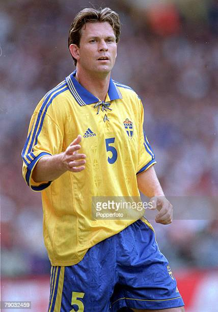 Football European Championships 2000 Qualifier Wembley 5th June England 0 v Sweden 0 Sweden's Pontus Kamark