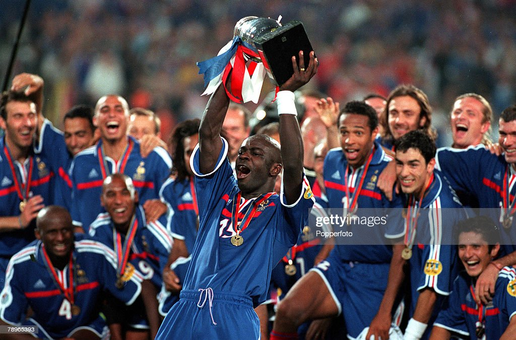 Football European Championships Final Feijenoord Stadium Rotterdam Holland France 2 v Italy 1 2nd July Frances Lilian Thuram holds the trophy aloft...