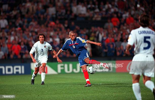 Football European Championships Final Feyenoord Stadium Rotterdam Holland France 2 v Italy 1 2nd July Frances David Trezeguet shoots the 'Golden...