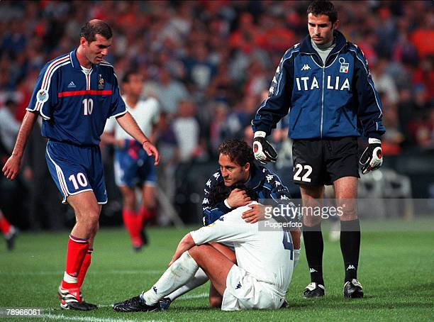 Football European Championships Final Feyenoord Stadium Rotterdam Holland France 2 v Italy 1 2nd July Italys Alessandro Del Piero is consoled by...