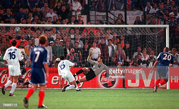 Football European Championships Final Feyenoord Stadium Rotterdam Holland France 2 v Italy 1 2nd July Frances David Trezeguet shoots into the top...