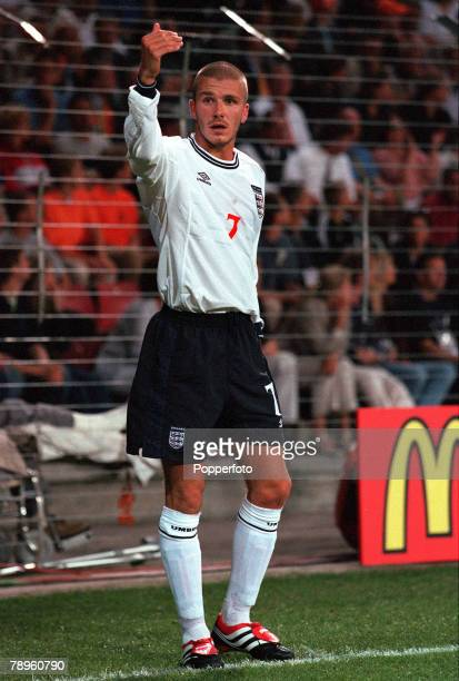 Football European Championships Philips Stadium Eindhoven Holland Portugal 3 v England 2 12th June Englands David Beckham gestures with his hand