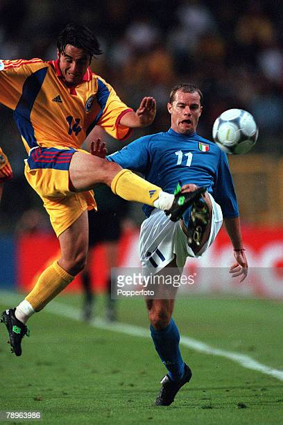 Football European Championships Quarter Final King Baudouin Stadium Brussels Belgium Italy 2 v Romania 0 24th June Romanias Florentin Petre tackles...