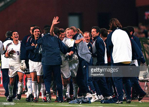 Football European Championships SemiFinal King Baudouin Stadium Brussels Belgium France 2 v Portugal 1 28th June The entire French squad celebrate...