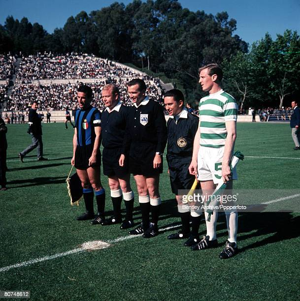Football European Cup Final Lisbon Portugal 25th May 1967 Celtic 2 v Inter Milan 1 The two captains and officials pose together prior to exchanging...
