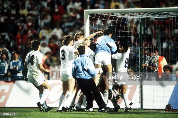 Football European Cup Final Stuttgart West Germany 25th May 1988 Benfica 0 v PSV Eindhoven 0 PSV players leap onto goalkeeper Hans Van Breukelen...