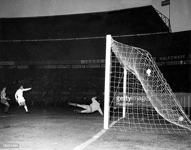 Football European Cup Winners Cup Final 15th May 1963 Rotterdam Holland Tottenham Hotspur 5 v Atletico Madrid 1 Spurs' striker Jimmy Greaves scores...