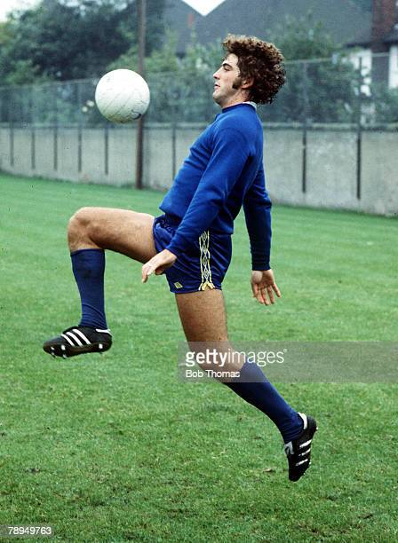 Football Everton's Bob Latchford practices his ball control skills during a training session