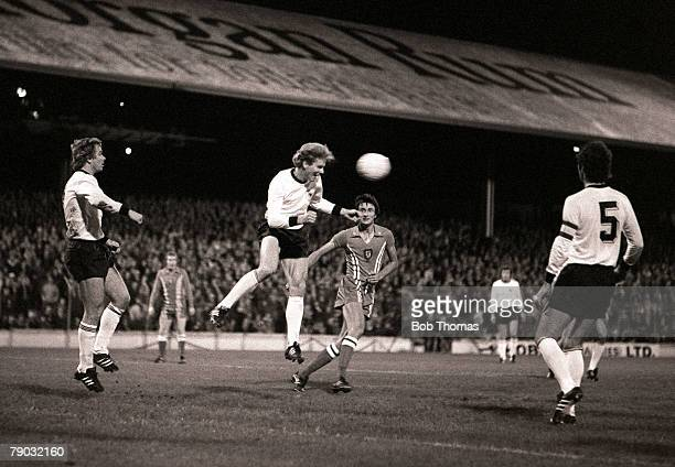 Football FA Centenary International Cardiff 6th October 1976 Wales v Germany West Germany's Karl Heinz Rummenigge jumps up to head the ball with Ian...
