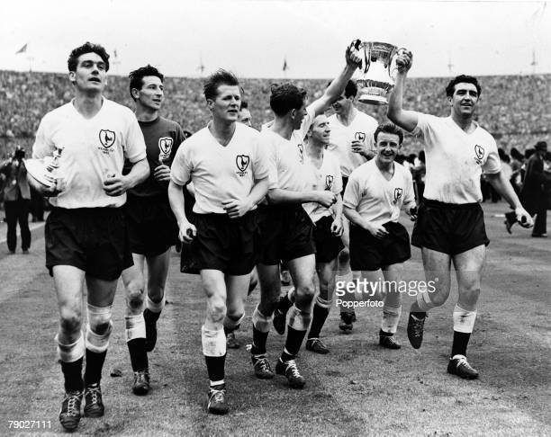 Football FA Cup Final Tottenham Hotspur 2 v Leicester City 0 6th May 1961 Wembley Stadium London The Tottenham players parade the FA Cup after...