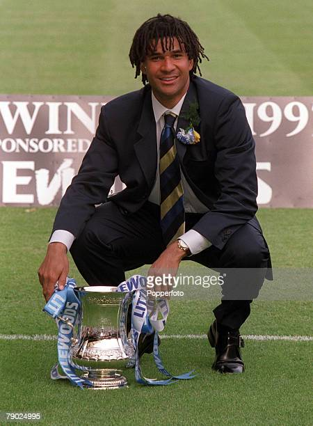 Football FA Cup Final Wembley 17th May Chelsea 2 v Middlesbrough 0 Chelsea manager Ruud Gullit celebrates with the trophy after the match his first...