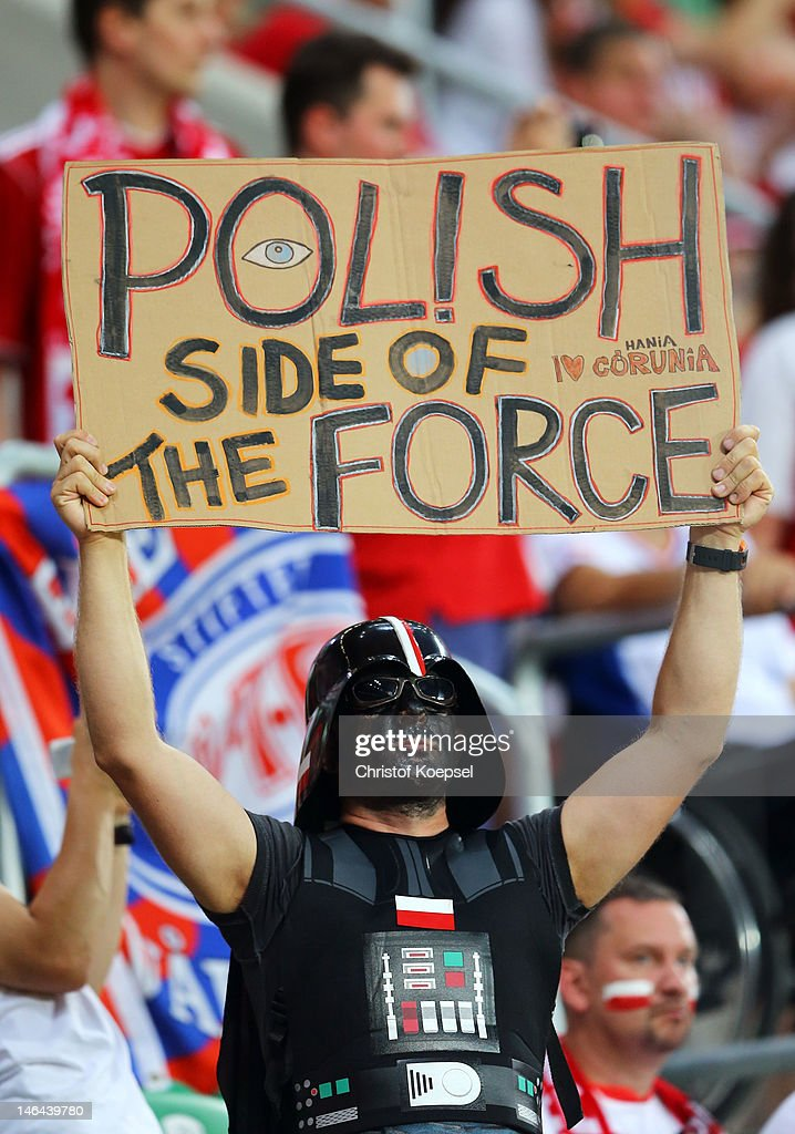 A football fan dressed as Darth Vader during the UEFA EURO 2012 group A match between Czech Republic and Poland at The Municipal Stadium on June 16, 2012 in Wroclaw, Poland.